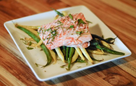 salmon with fresh herbs and heirloom beans: foodie with a life
