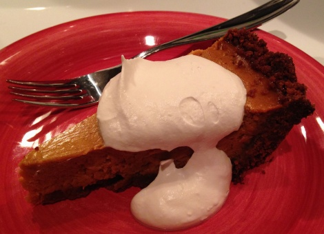 pumpkin pie with gingersnap crust: foodie with a life