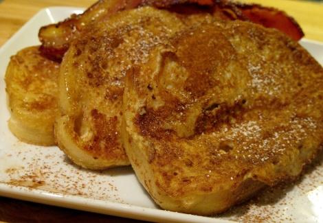 french-toast, cinnamon, eggs, bacon, breakfast, weekend, artisan-bread, day-old-bread