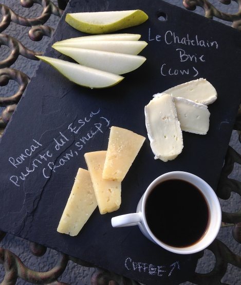 le-chatelain, roncal, sheeps-milk, raw, cheese-board, pear, espresso, breakfast